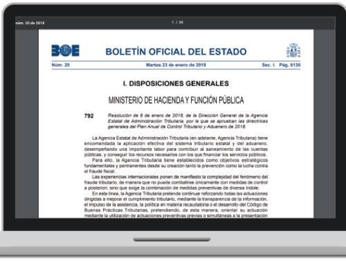 España: Se publica el Plan Anual de Control Tributario y Aduanero para 2018