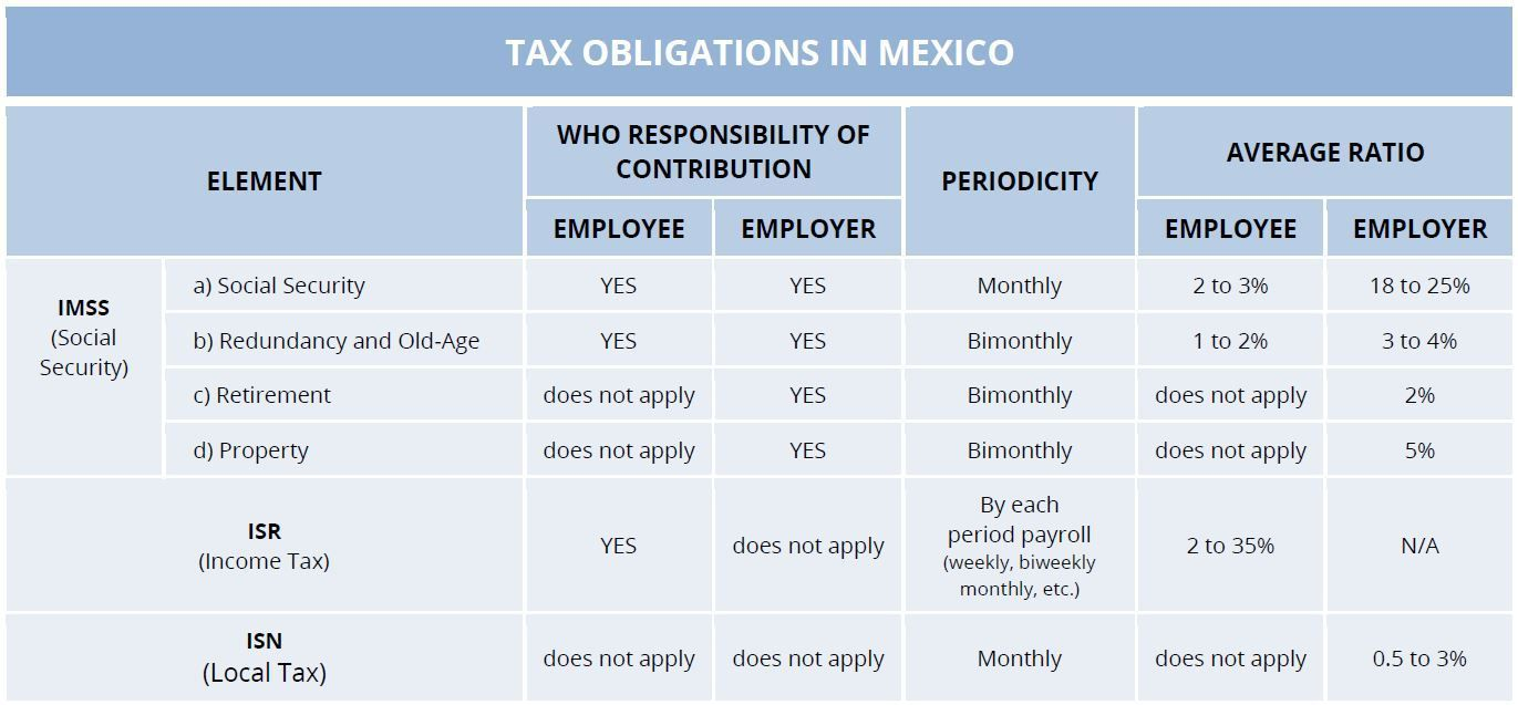 TAX OBLIGATIONS IN MEXICO
