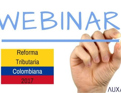 """Auxadi te invita al Webinar """"Impacto de la Reforma Tributaria Colombiana en las empresas españolas con sede en el país"""""""