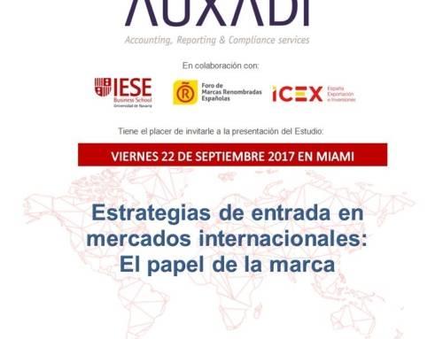 """Auxadi presenta en Miami el estudio: """"Estrategias de entrada en mercados internacionales: El papel de la marca"""""""